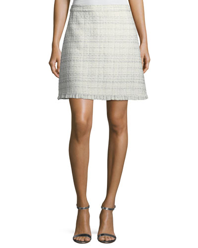 sparkle tweed a-line skirt, cream