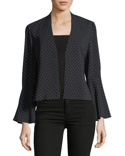 Kayden Bell-Sleeve Dot-Print Jacket