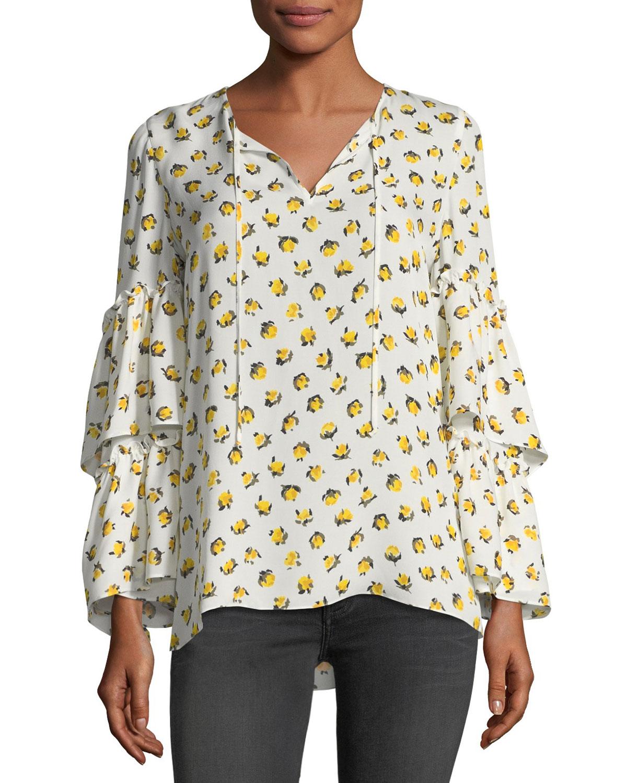 Savanna Split-Neck Floral-Print Silk Blouse