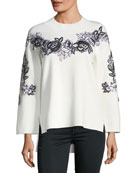 Alyson Wool-Blend Embroidery Sweater