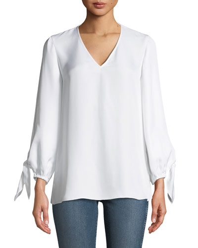 Marlee Self-Tie Silk V-Neck Top