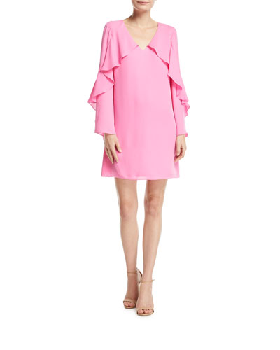 Bethenny Ruffled Long-Sleeve Dress
