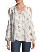 Addie Floral-Print Cold-Shoulder Blouse