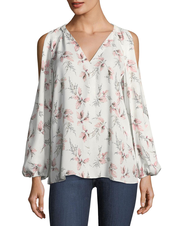 Addie Floral-Print Cold-Shoulder Blouse