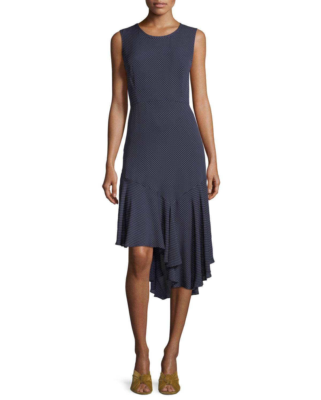 Bailee Ruffle-Hem Dotted Dress