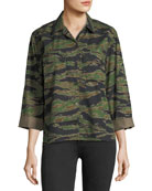 Tiger-Camo Button-Front Boxy Shirt