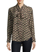 Twigs Floral-Print Button-Front Silk Shirt