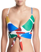 Mila Printed Wrap Swim Top