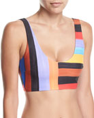 Lira Brushed Stripes Scoop-Neck Swim Top