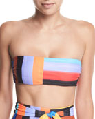 Abigail Brushed Stripes Bandeau Bikini Top