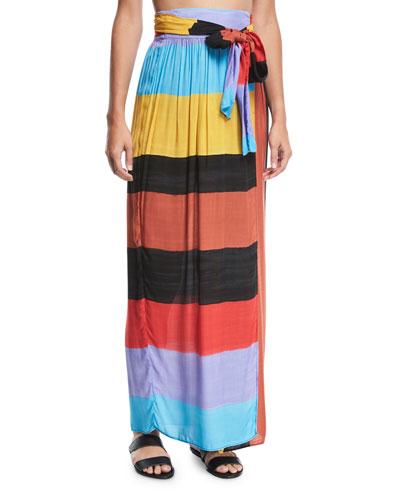 Cora Colorblocked Swim Coverup Maxi Skirt