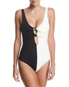 Maven Colorblocked Bow-Front One-Piece Swimsuit