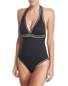 Threading One-Piece Halter Swimsuit