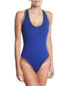 Threading Scoop-Neck Cross-Back One-Piece Swimsuit