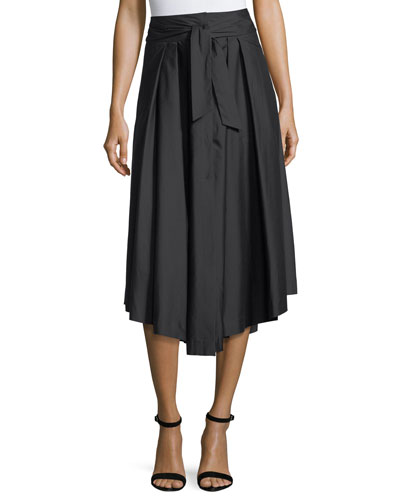 Button-Front Poplin Midi Skirt
