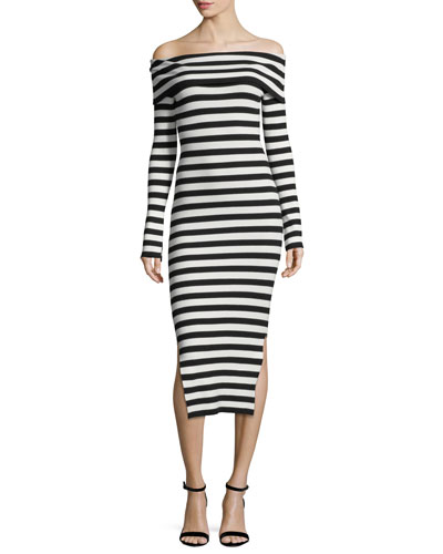 Long-Sleeve Off-Shoulder Rib Dress