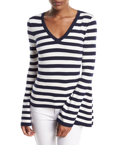 V-Neck Bell-Sleeve Pullover Top