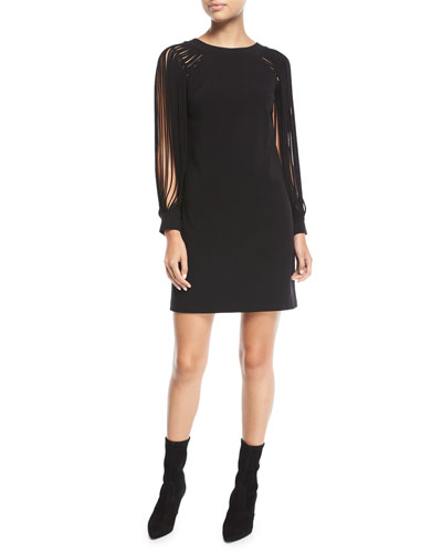 Slit Long-Sleeve Mini Dress