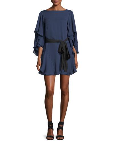 Flutter-Sleeve Shift Cocktail Dress w/ Sash