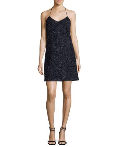 Sleeveless V-Neck Metallic Slip Cocktail Dress