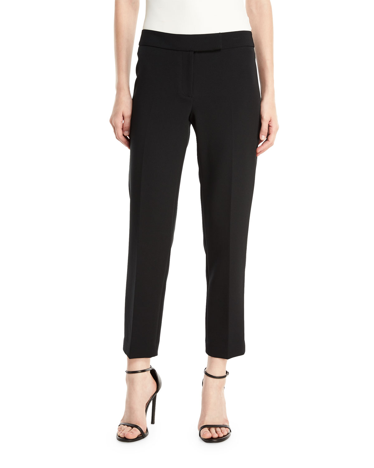 Stretch Crepe Cigarette Pants