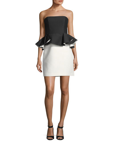 Strapless Mini Peplum Colorblock Cocktail Dress