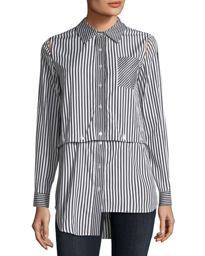 Fractured Stripe Shirting Combo Shirt