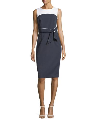 Two-Tone Stretch-Crepe Dress