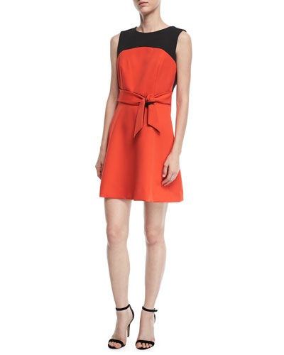 Jenny Stretch-Crepe Combo Dress
