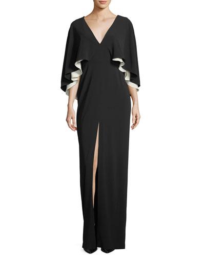 Colorblock V-Neck Cape Evening Gown