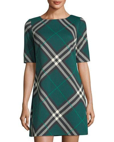 Half-Sleeve Plaid Shift Dress