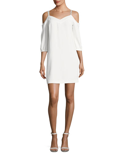 Embellished Straps Cold-Shoulder Crepe Day Dress