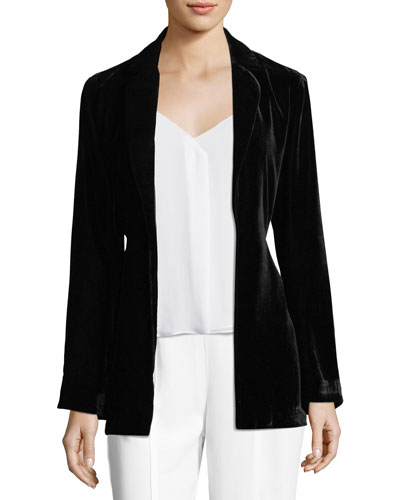 Draped Velvet Bell-Sleeve Smoking Jacket