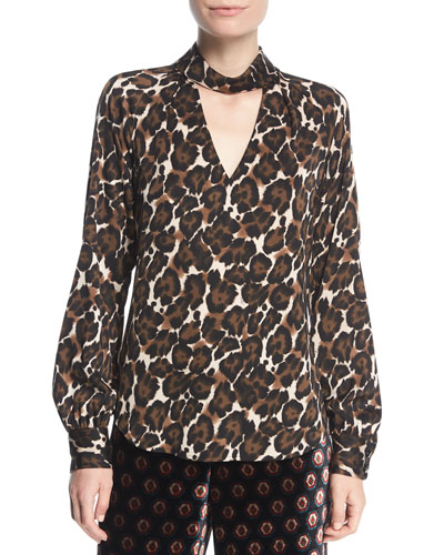 Canyon Animal-Print Silk Choker-Neck Blouse