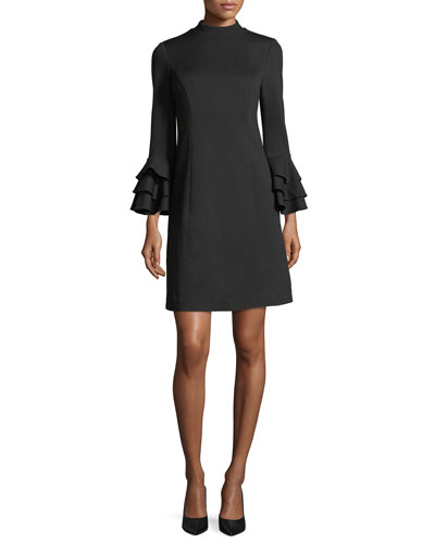 Mock-Neck Tiered Bell-Sleeve Ponte Cocktail Dress