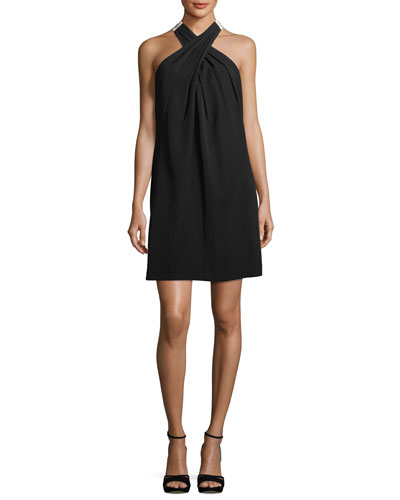 Flawless Finish Crossover Dress w/ Contrast Bow