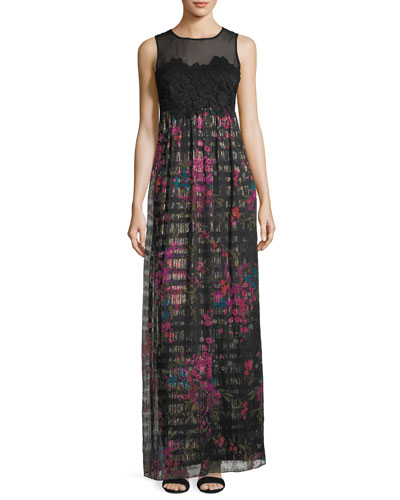 Sleeveless Bouquet-Print Lace Bodice Maxi Dress