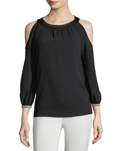 Round-Neck Crepe Cold-Shoulder Top w/ Embellished Cuffs