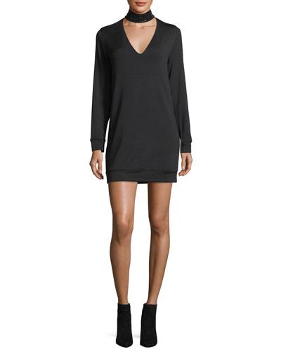 Garrote Beaded-Collar Long-Sleeve Crepe Dress
