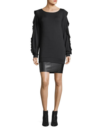 Demon Scoop-Neck Long-Sleeve Dress w/ Faux-Leather Hem