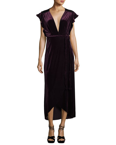 Carolina V-Neck Cap-Sleeve Wrap Maxi Dress