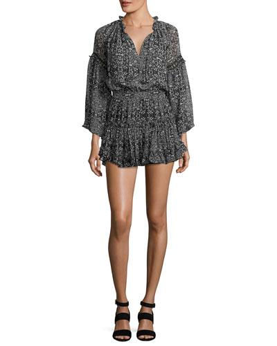 Genette V-Neck Long-Sleeve Short Dress