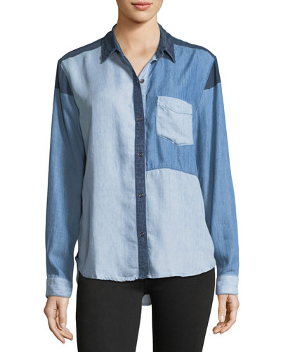 Zoey Colorblocked Button-Front Chambray Shirt