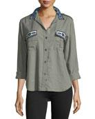 Kona Button-Front Linen-Blend Shirt w/ Embroidery