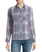Hunter Button-Front Long-Sleeve Plaid Shirt, Storm Pink Cloud Wash