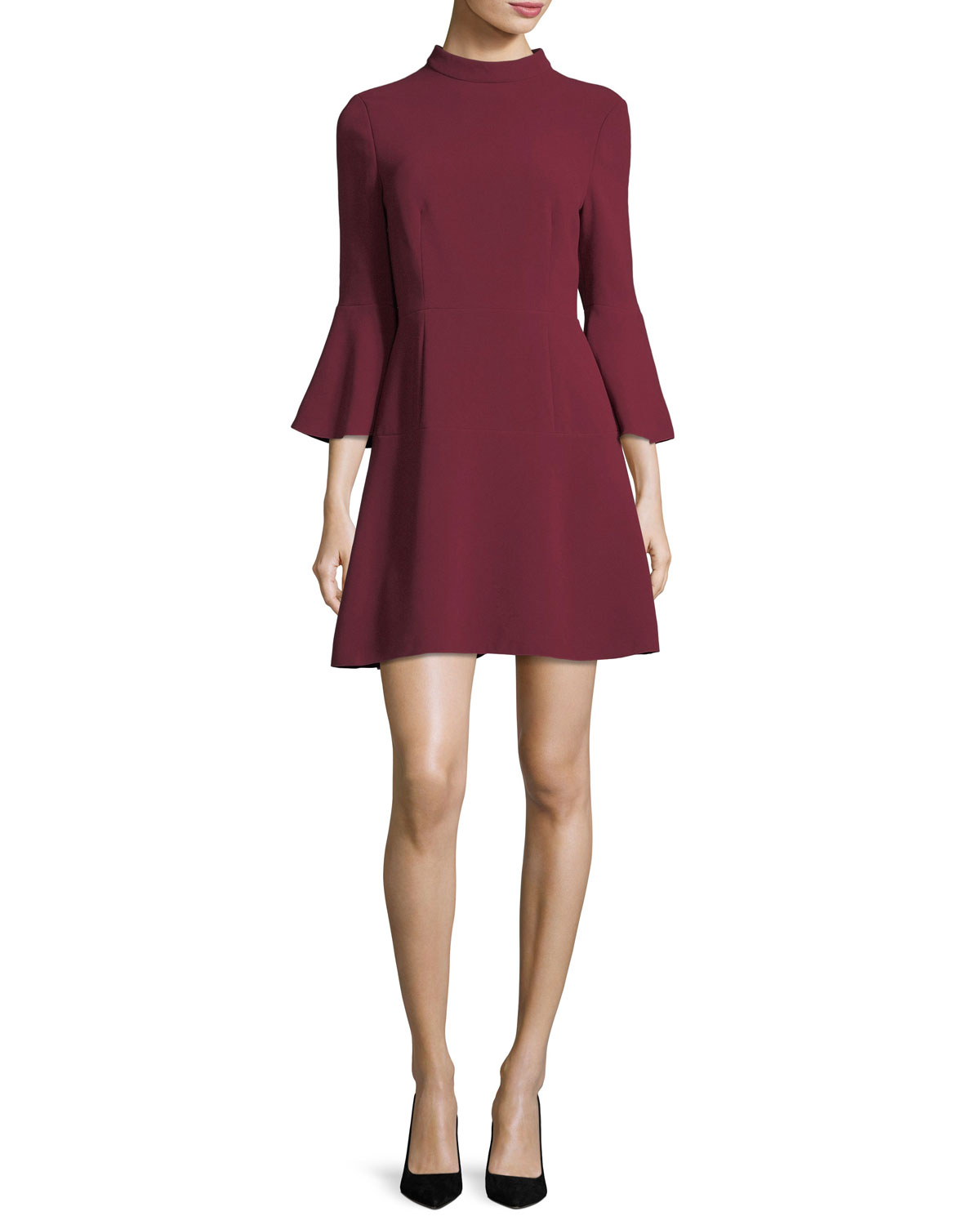 Califa Mock-Neck Bell-Sleeve Crepe Mini Dress