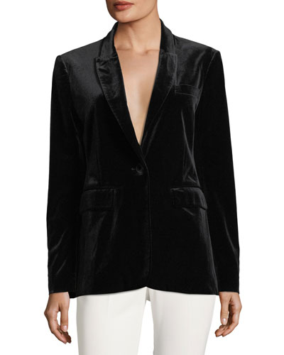 Eliza Single-Button Velvet Tuxedo Jacket