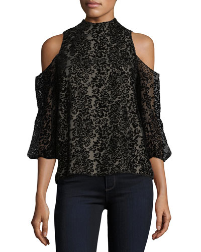 Hallie Cold-Shoulder Velvet Devoré Halter Top