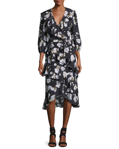 Kye V-Neck Floral-Printed Ruffled Midi Dress