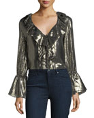 Elliott Long-Sleeve Deep-V Metallic Blouse w/ Ruffled Trim